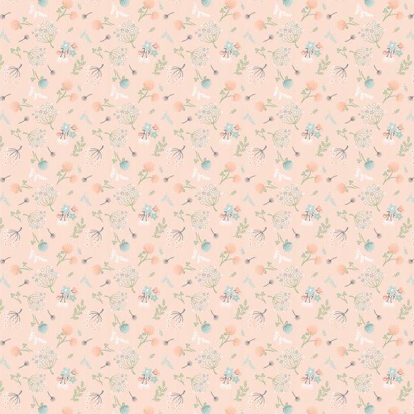 woodland floral peach