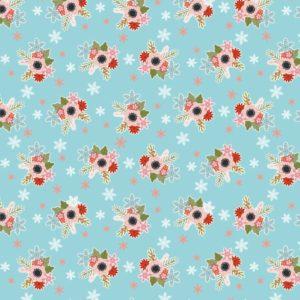 Flowers in Snow-Teal
